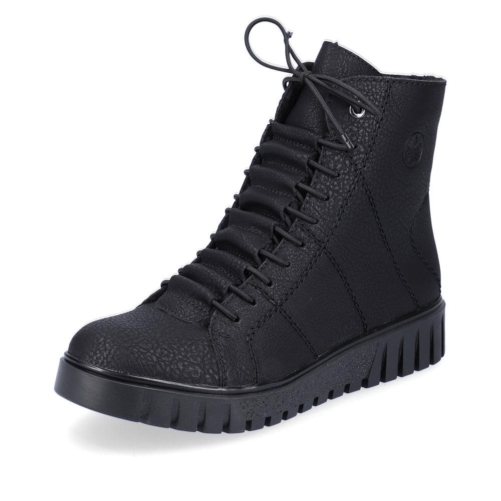 Черные ботинки из экокожи на утолщенной подошве