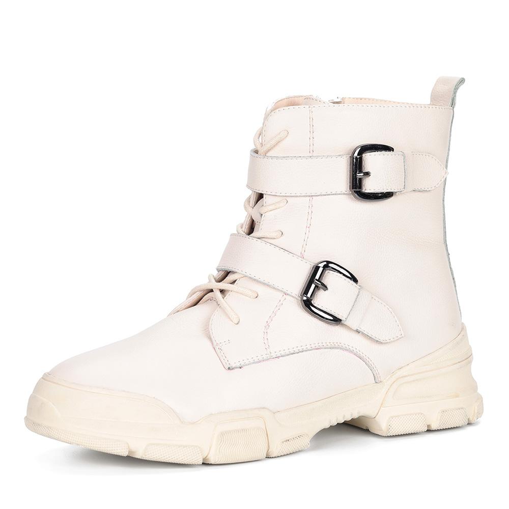 Белые ботинки из кожи на утолщенной подошве