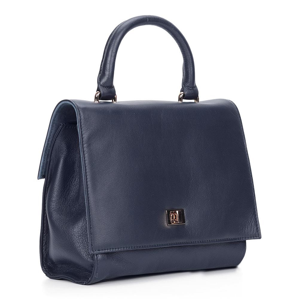Купить со скидкой Синяя сумка классических форм из кожи