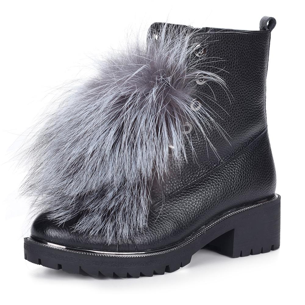 Черные ботинки из кожи с меховым декором