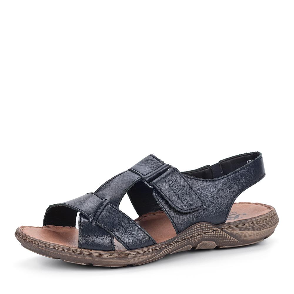 Синие кожаные сандалии фото