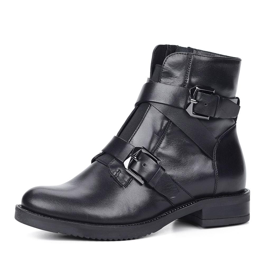 Черные кожаные ботинки с пряжками фото