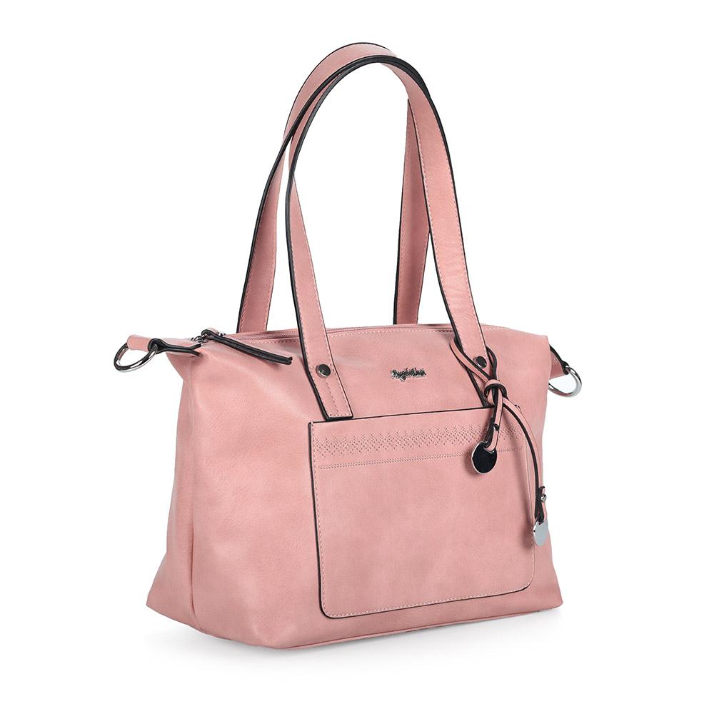 Розовая вместительная сумка с дополнительной ручкой фото