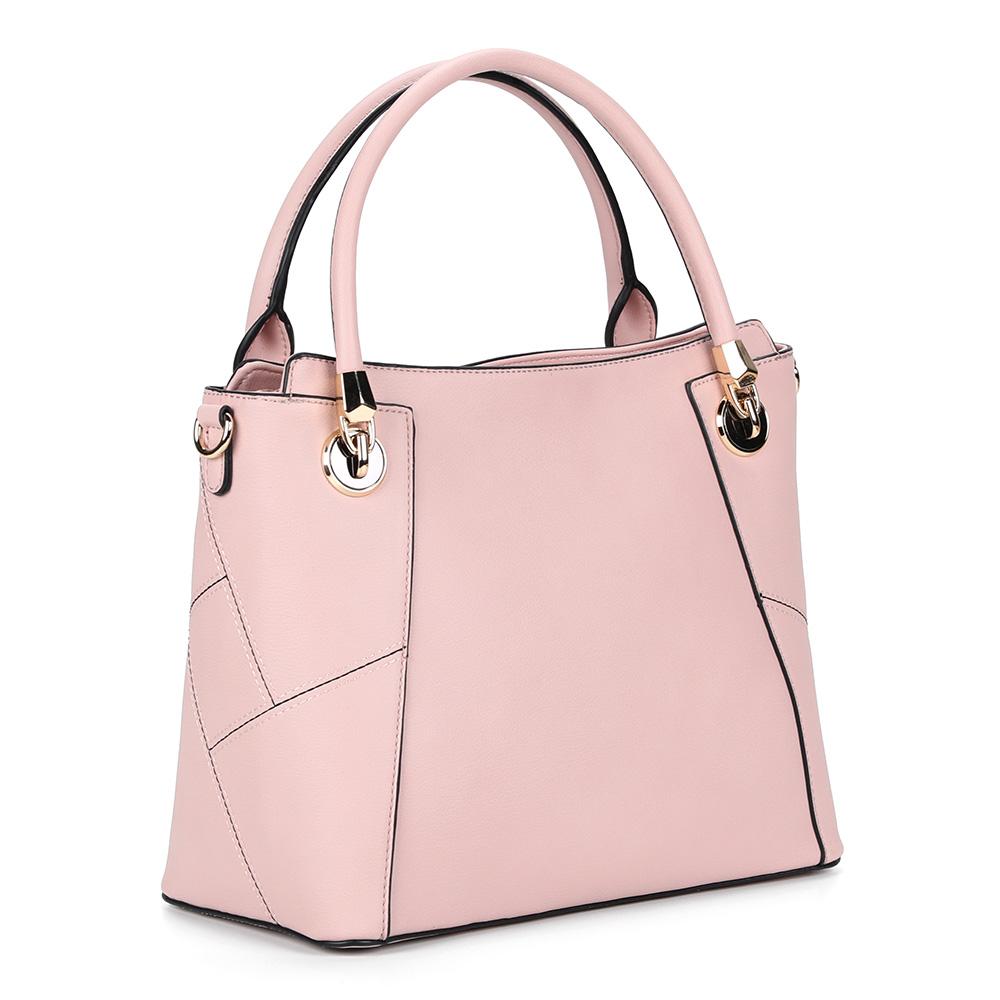 Классическая розовая сумка с дополнительной ручкой фото