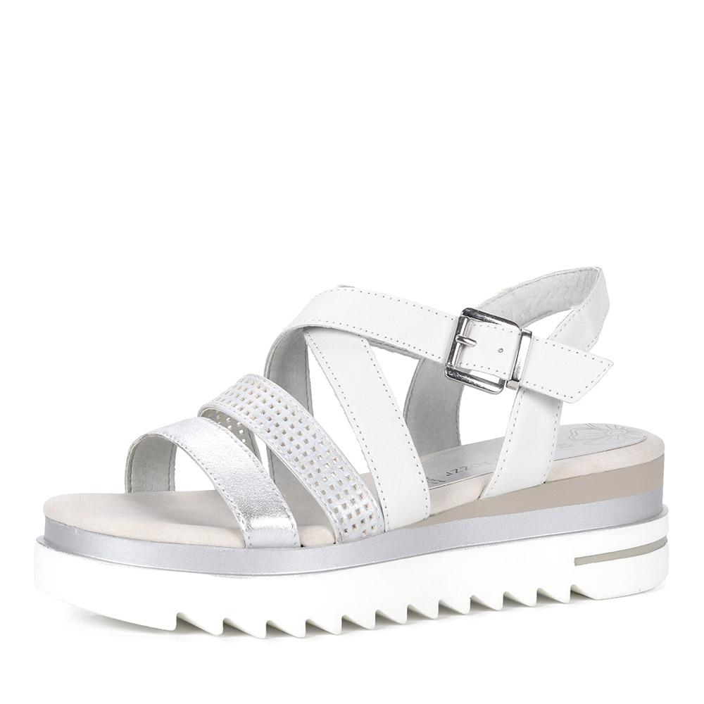 Серебряные сандалии из кожи