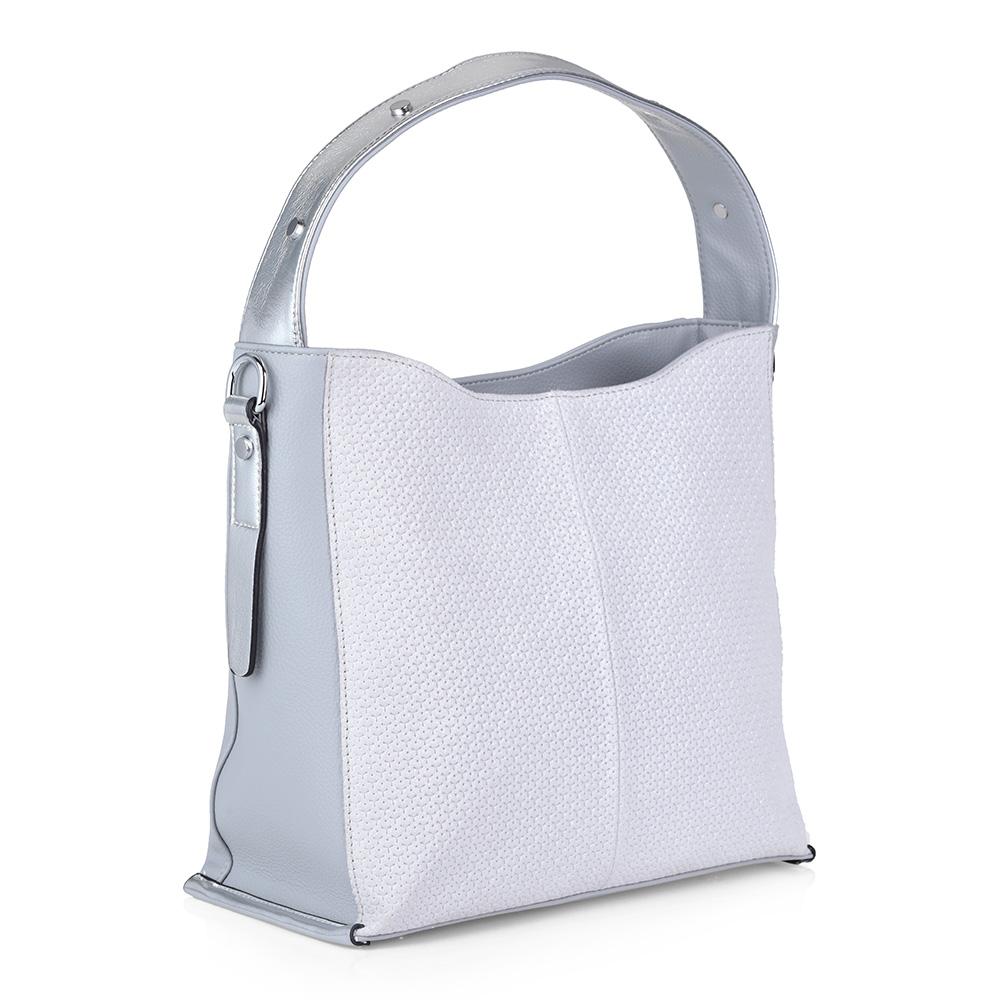 Нежно-голубая сумка с металлическим декором фото