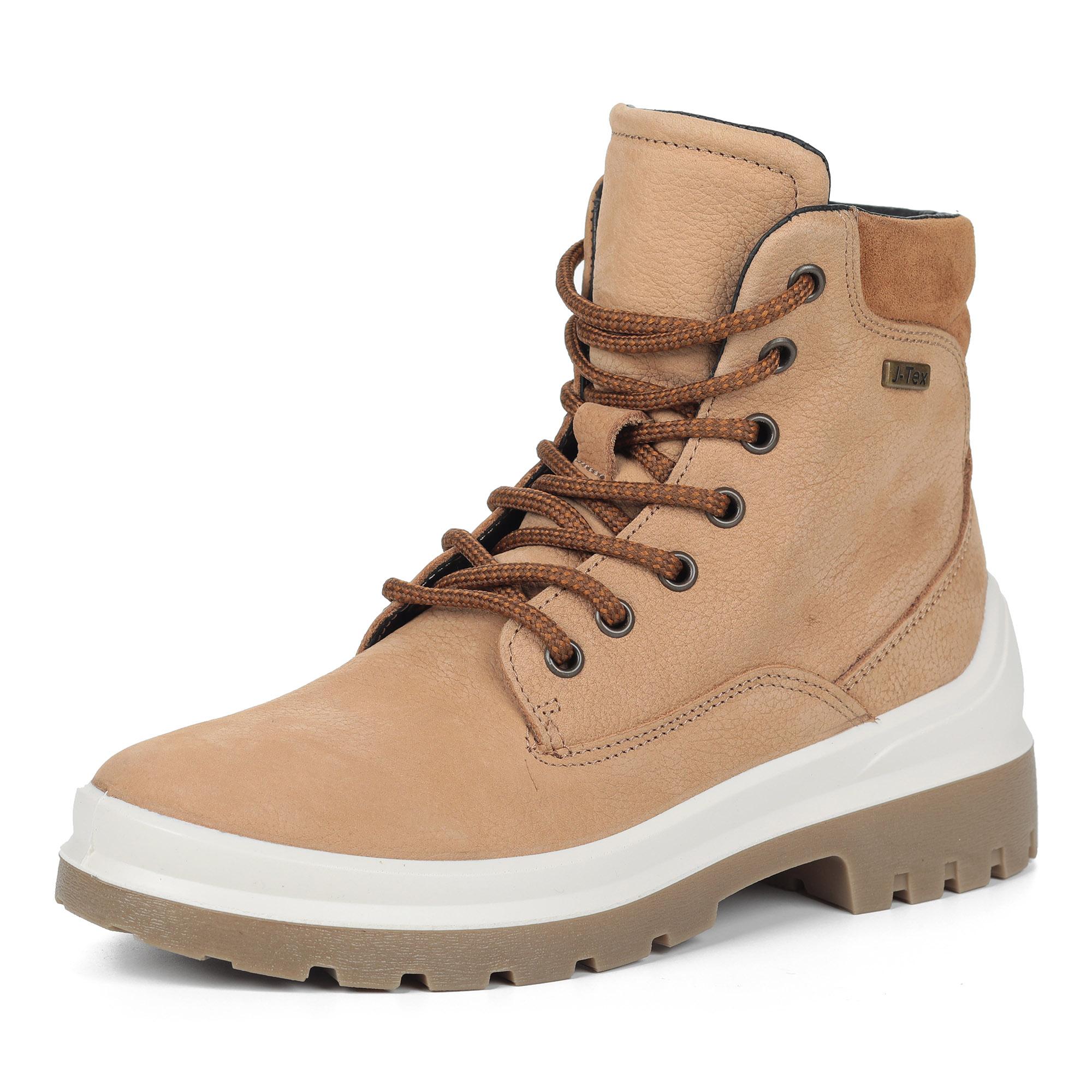 Бежевые ботинки из нубука повторяющие форму стопы