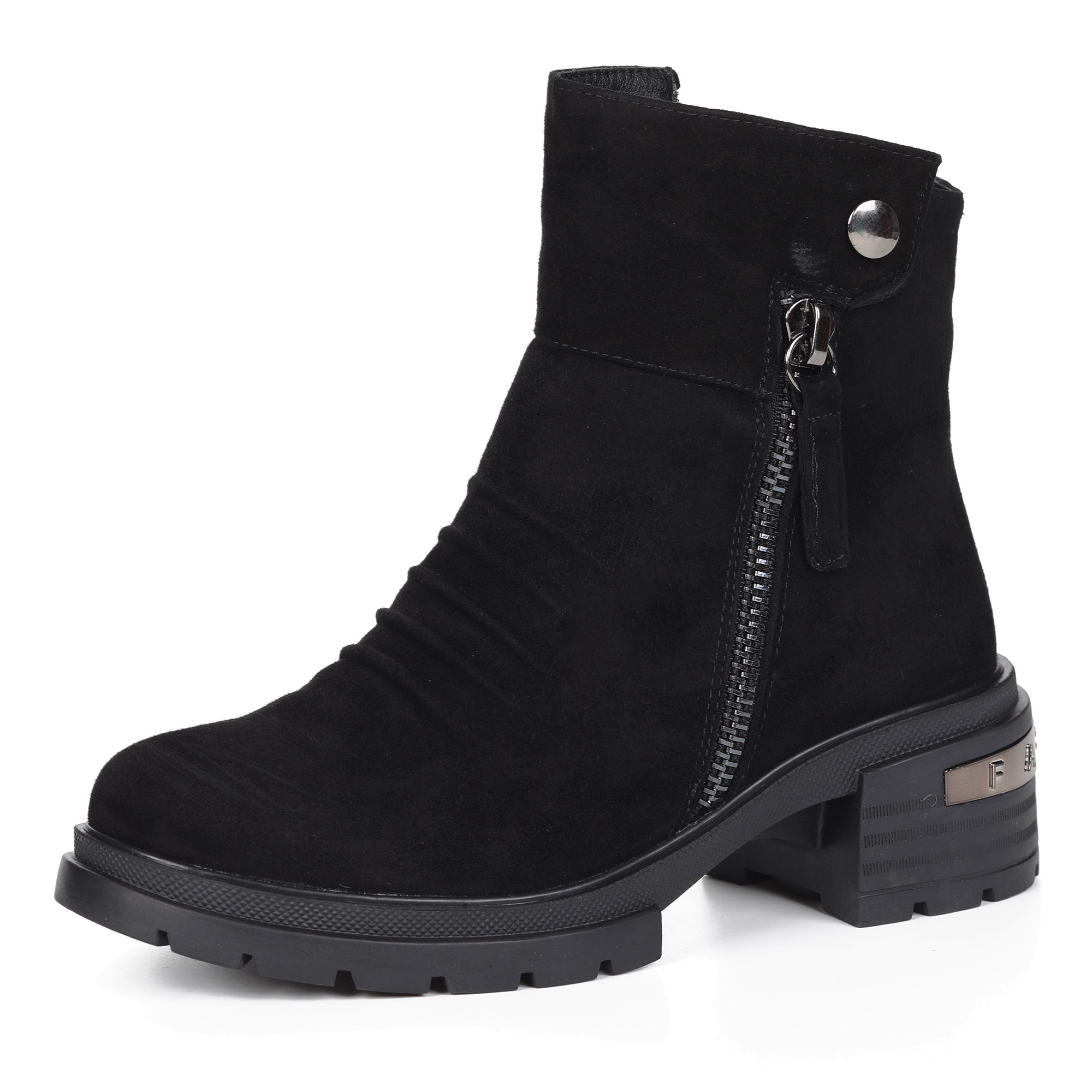Черные ботинки из велюра на утолщенной подошве