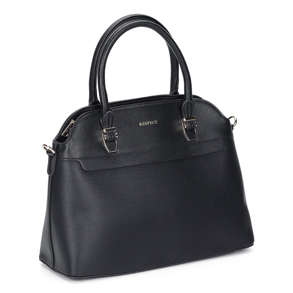 Черная классическая сумка с дополнительной ручкой фото