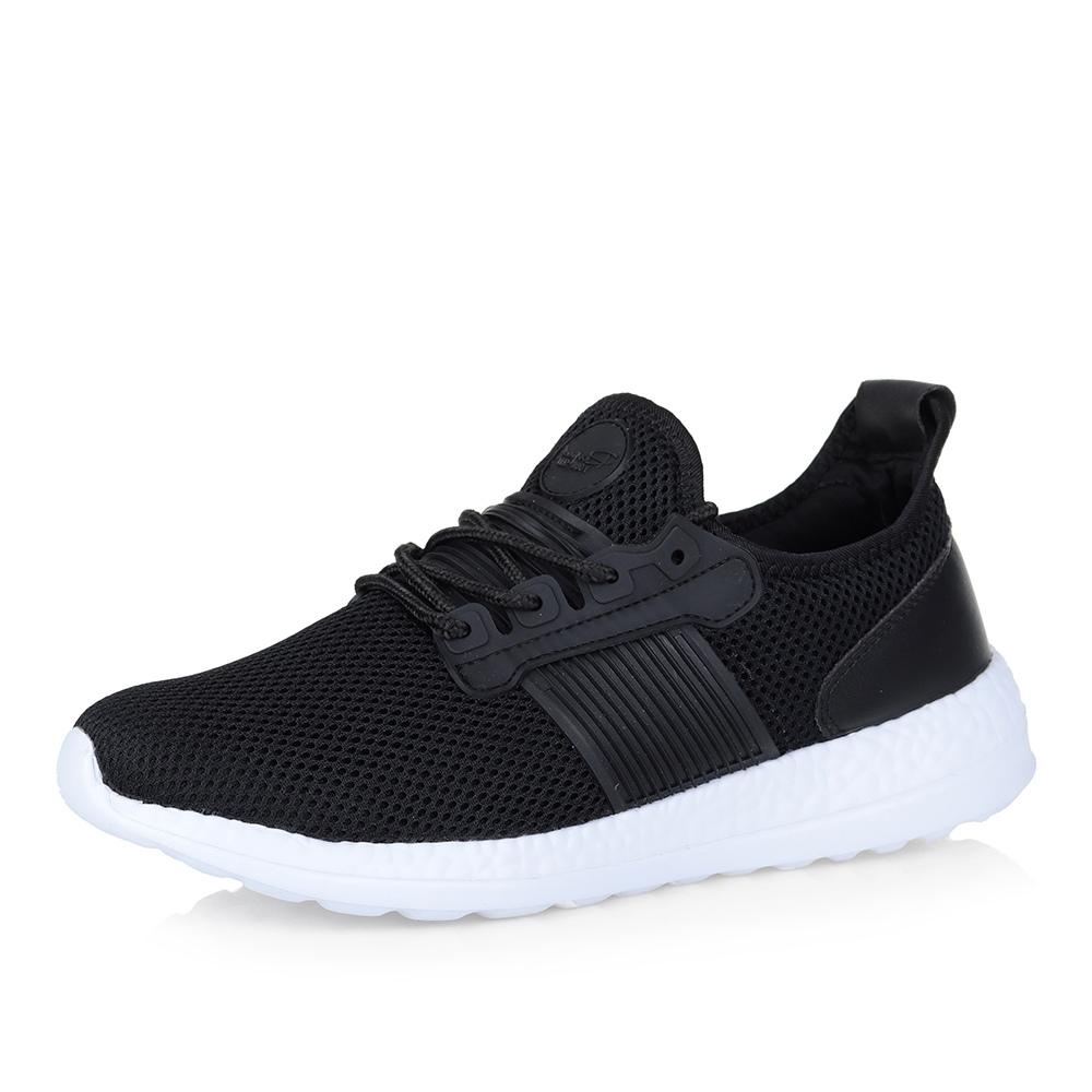 Купить со скидкой Черные кроссовки на белой подошве
