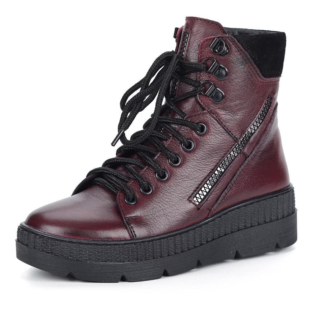 Бордовые ботинки на утолщенной подошве