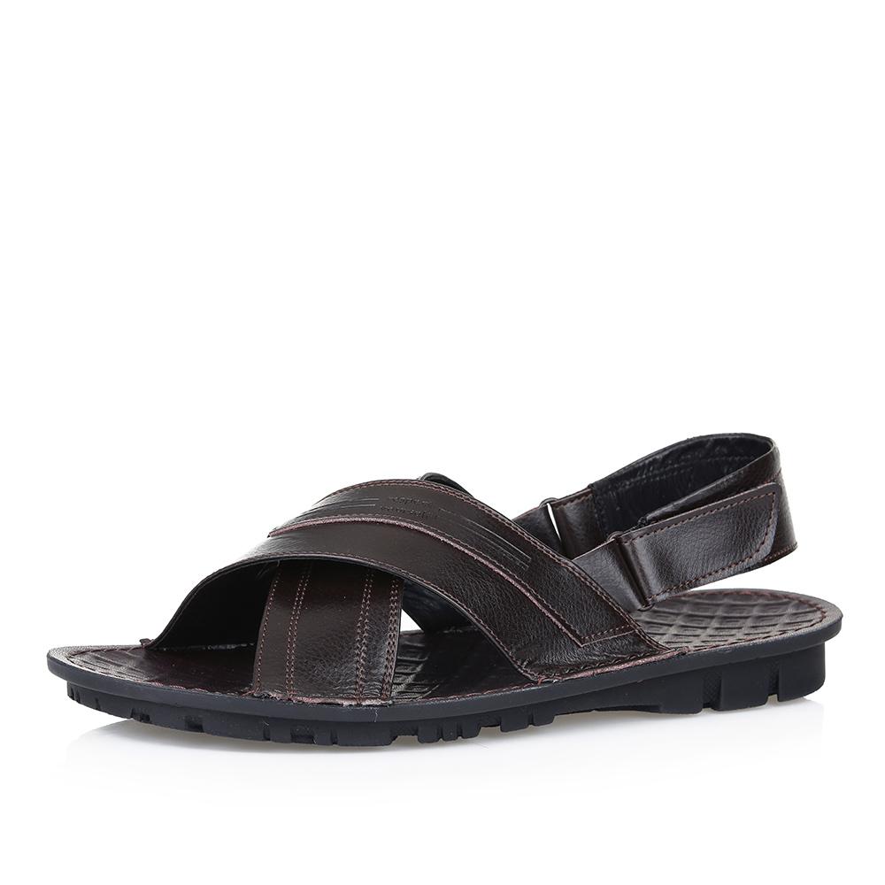 Купить со скидкой Коричневые сандалии с ремешком на липучке