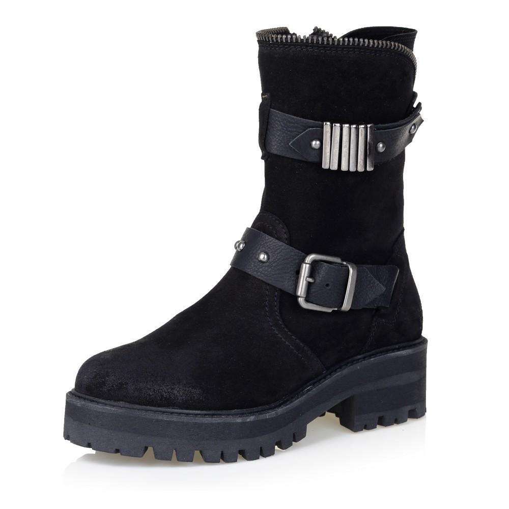 Ботинки из велюра чёрного цвета
