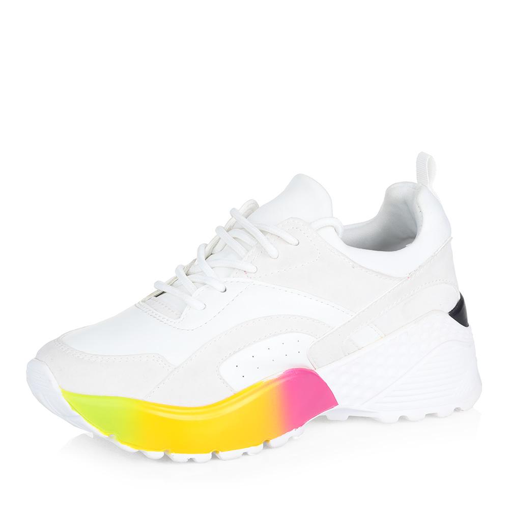Купить со скидкой Белые кроссовки на яркой подошве