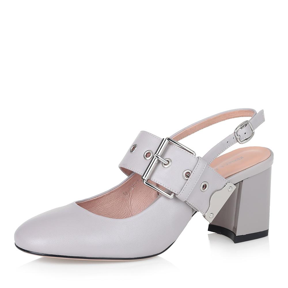 Бежевые открытые туфли с широким ремешком фото