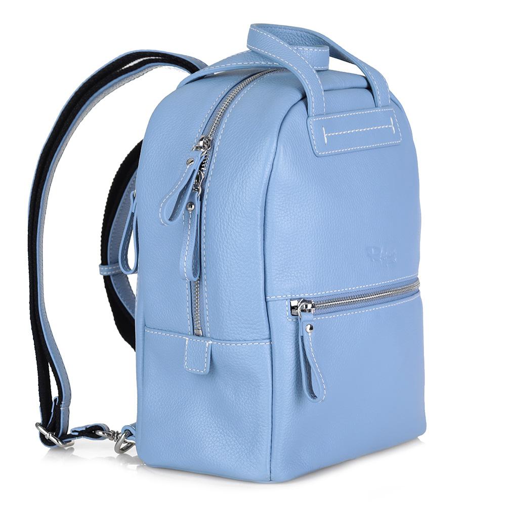 Голубой рюкзак из кожи