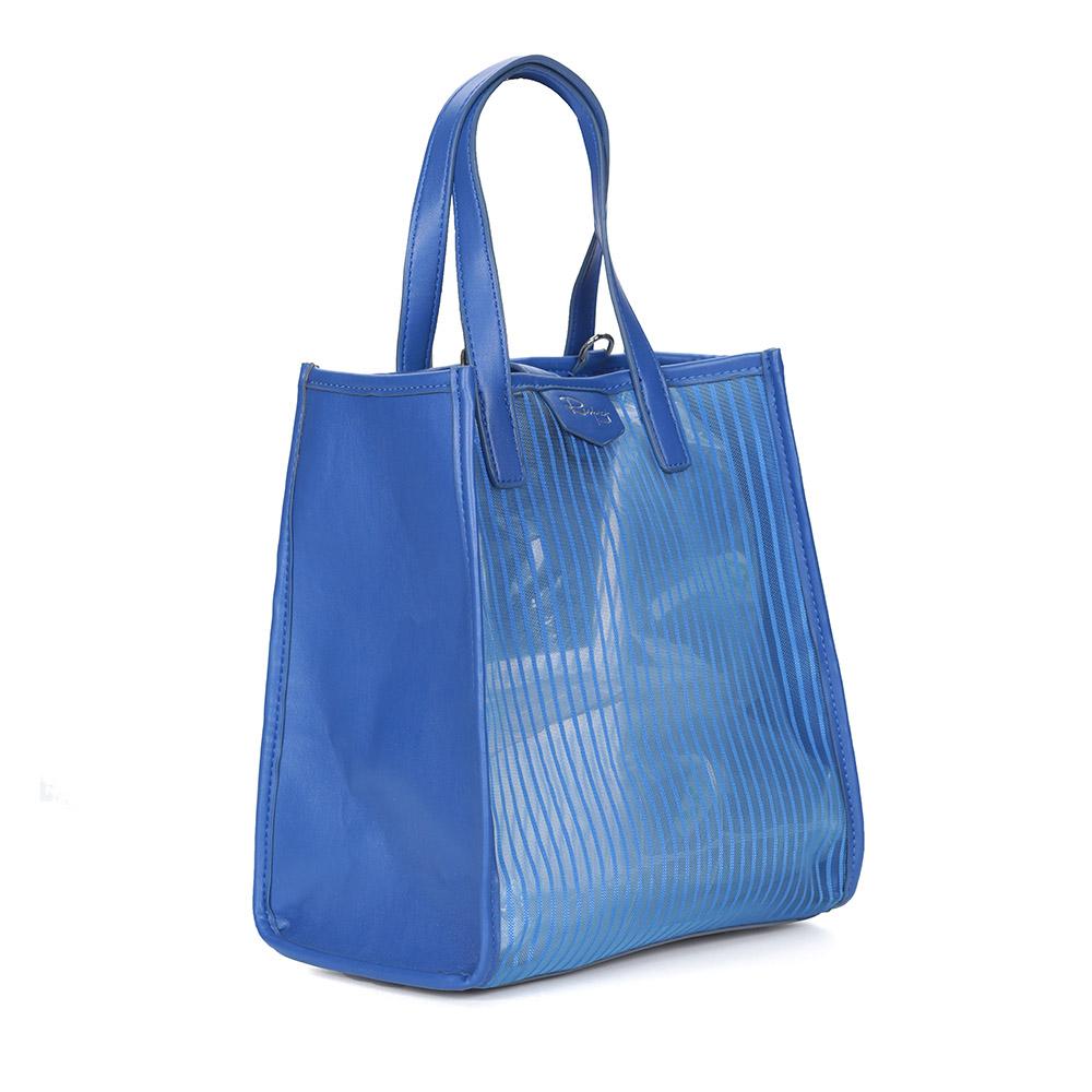 Синий шоппер из комбинированных материалов фото