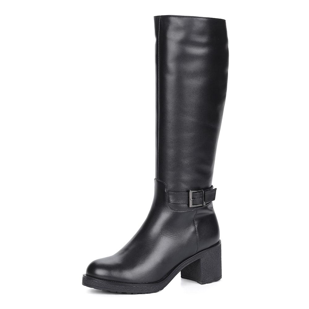 Черные кожаные сапоги из кожи на устойчивом каблуке