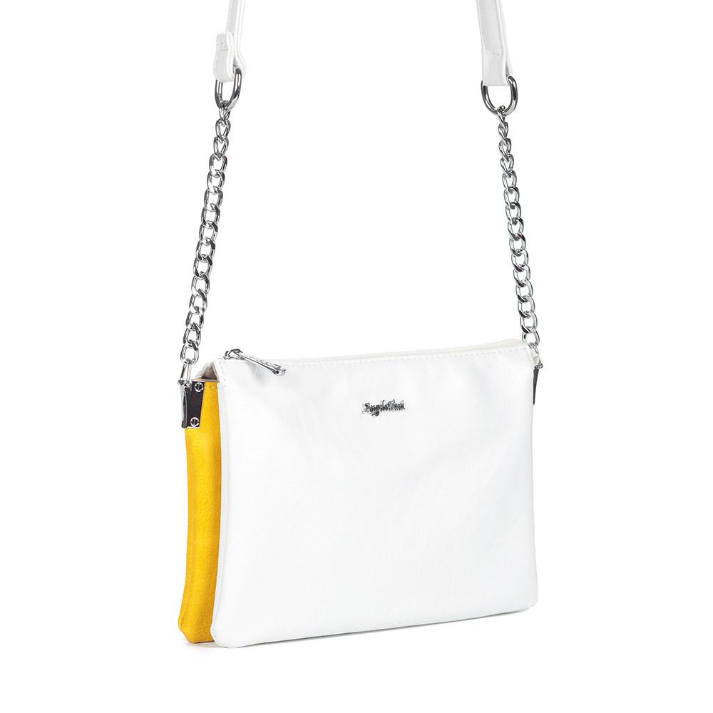 Бело-желтая сумка через плечо