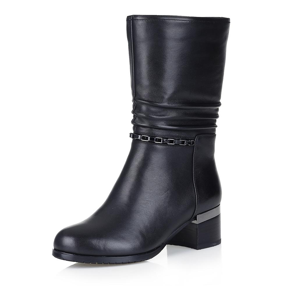 Купить со скидкой Черные полусапоги на среднем каблуке
