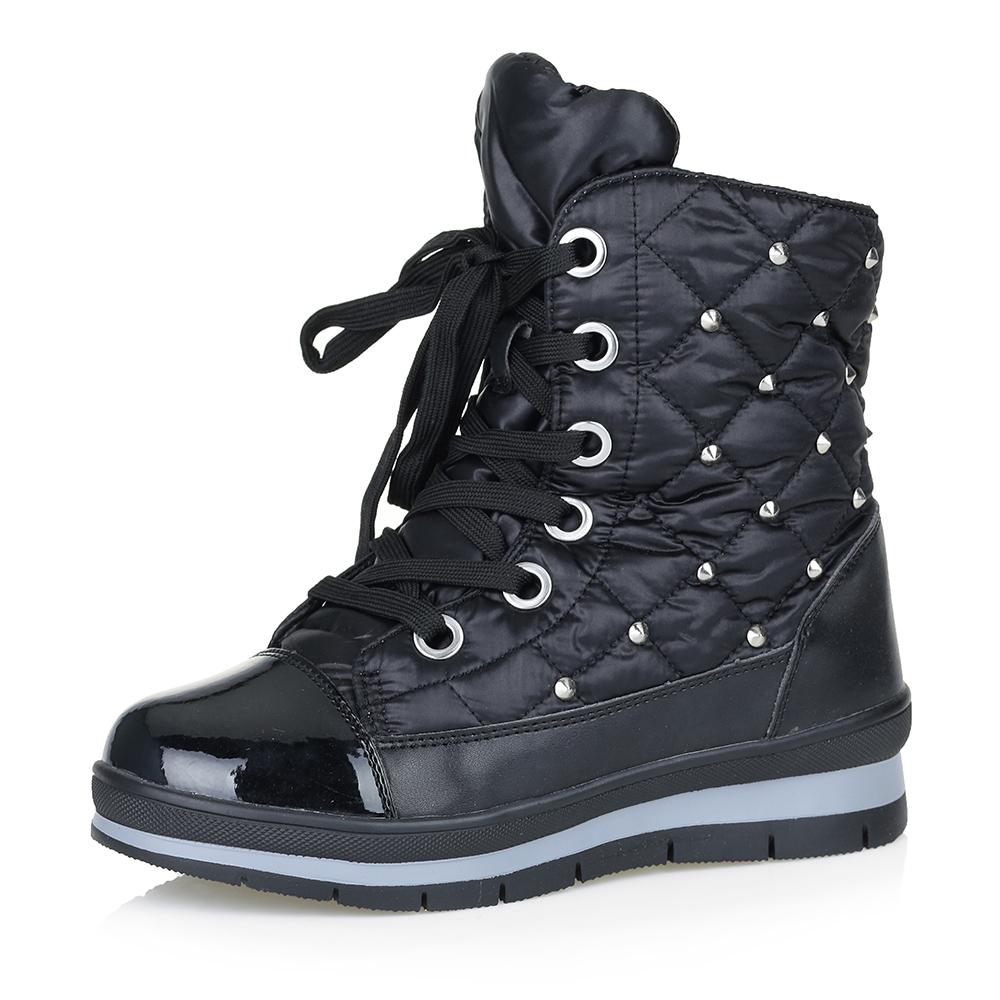 Черные дутики с высокой шнуровкой