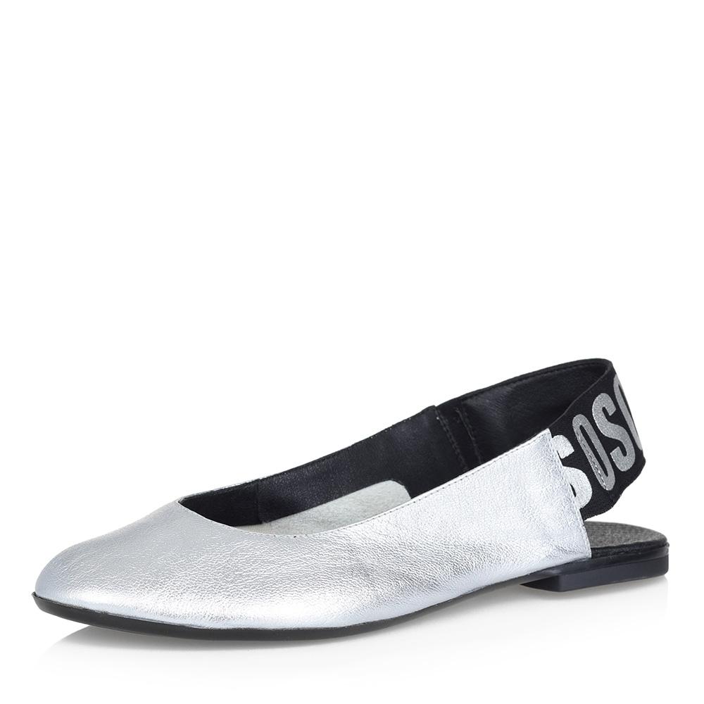 Серебристые открытые туфли на низком каблуке Respect