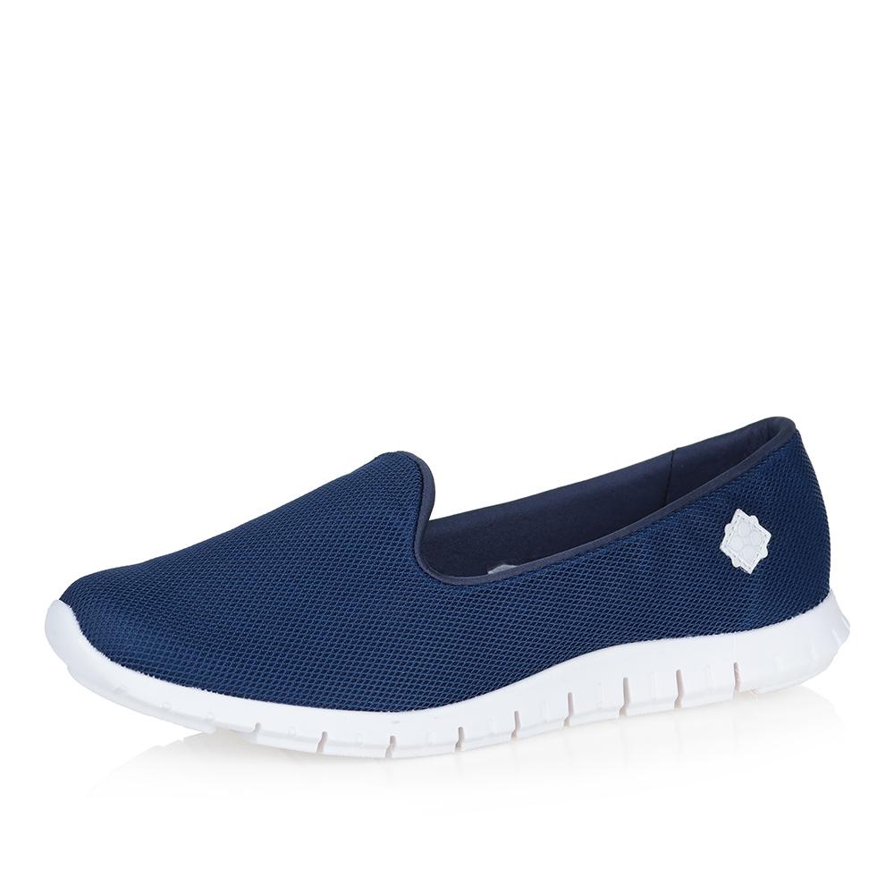 Синие туфли на сплошной белой подошве фото
