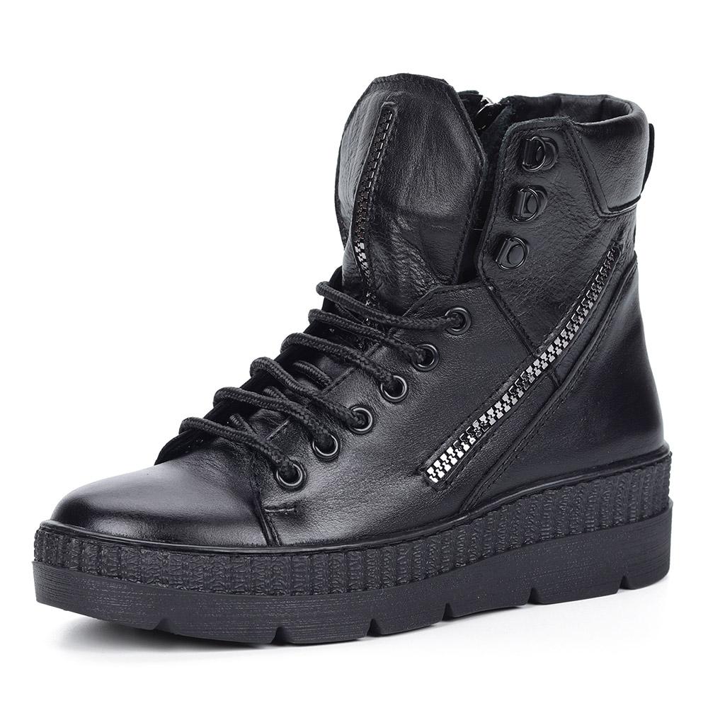 Черные ботинки на утолщенной подошве из кожи