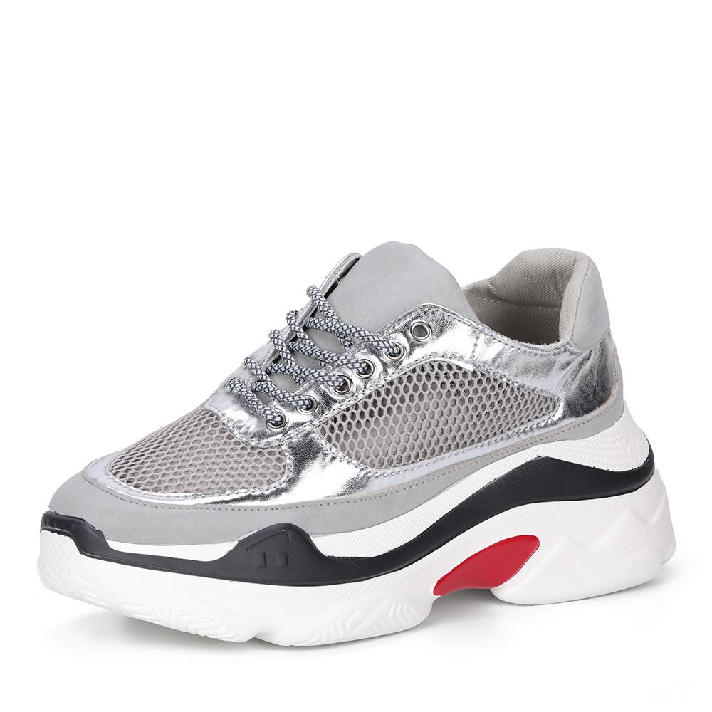 Серебристые кроссовки на массивной подошве фото