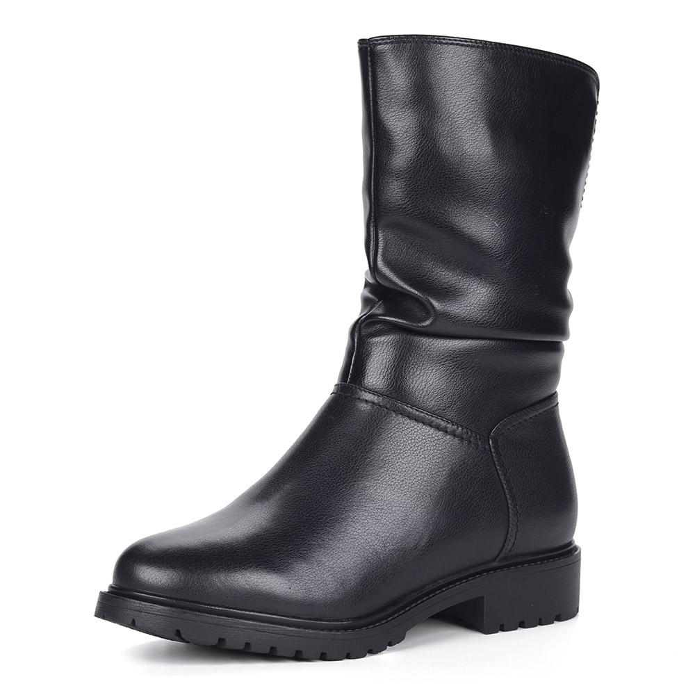 Черные кожаные полусапоги из кожи