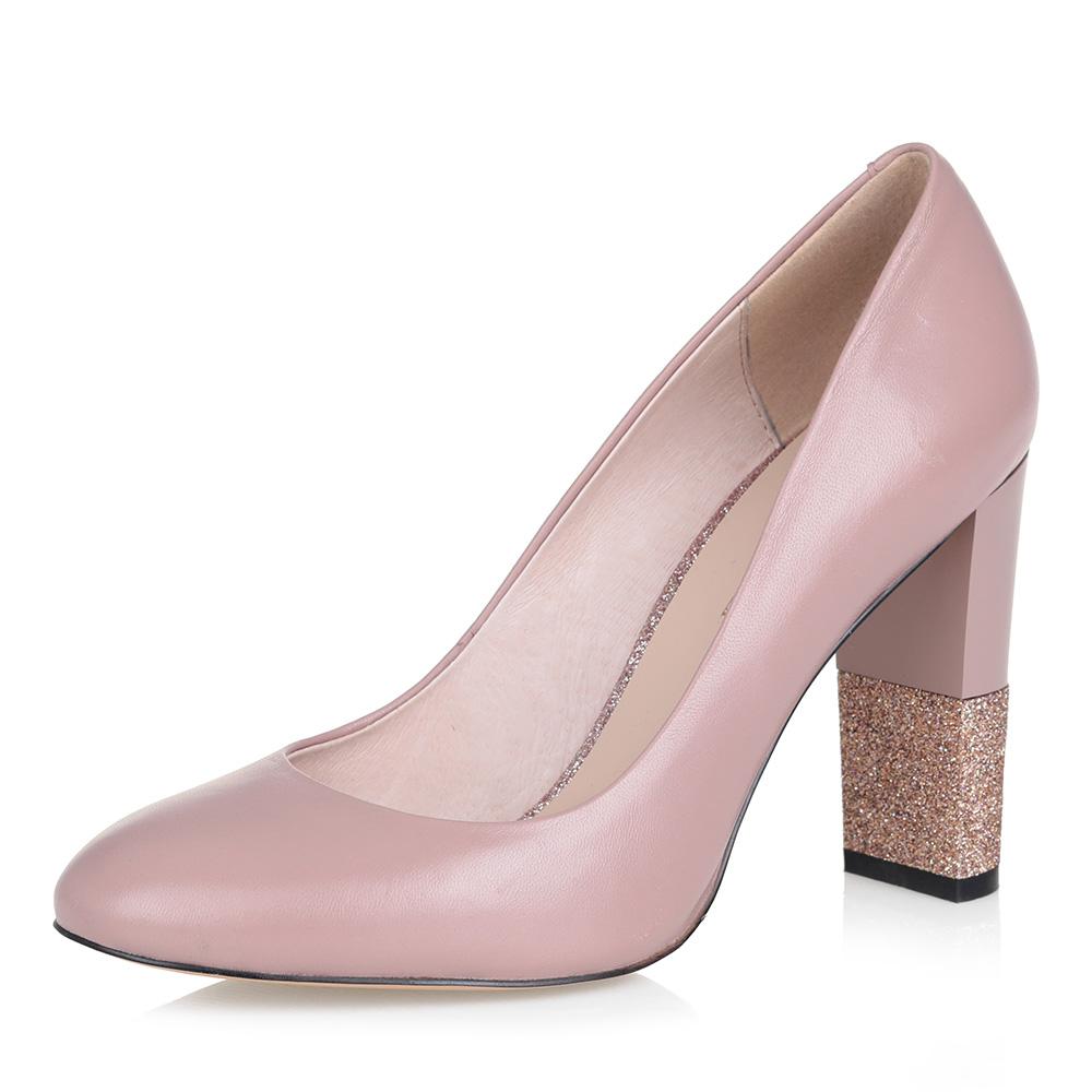 Розовые туфли-лодочки на плоском каблуке фото