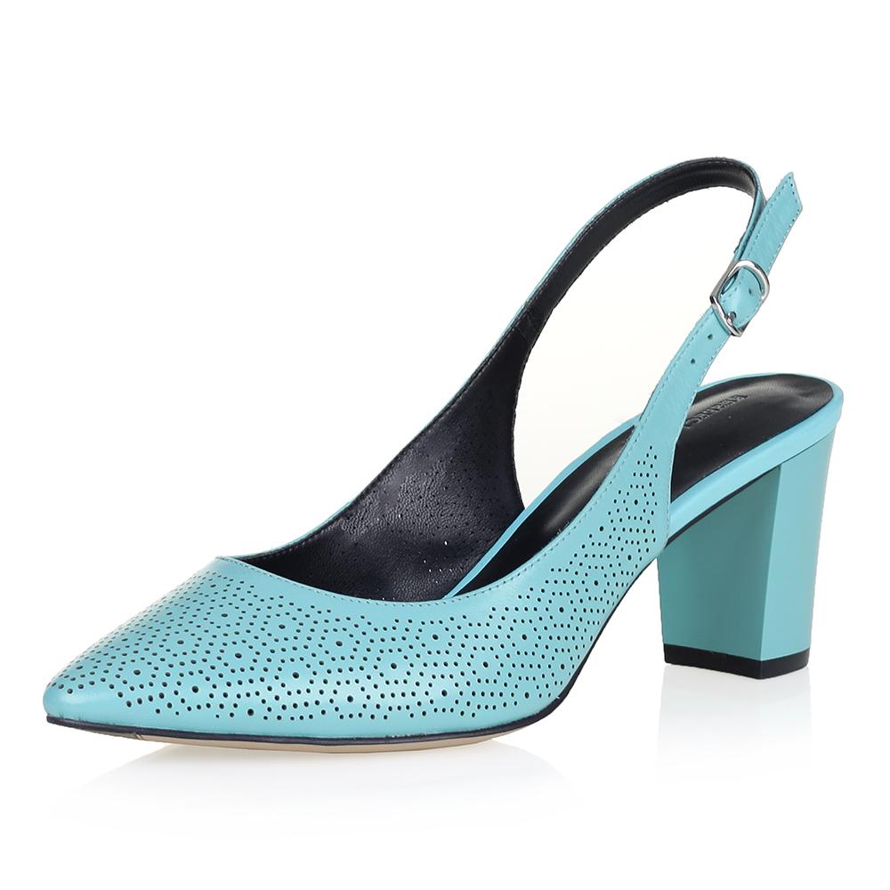 Бирюзовые открытые туфли с перфорацией