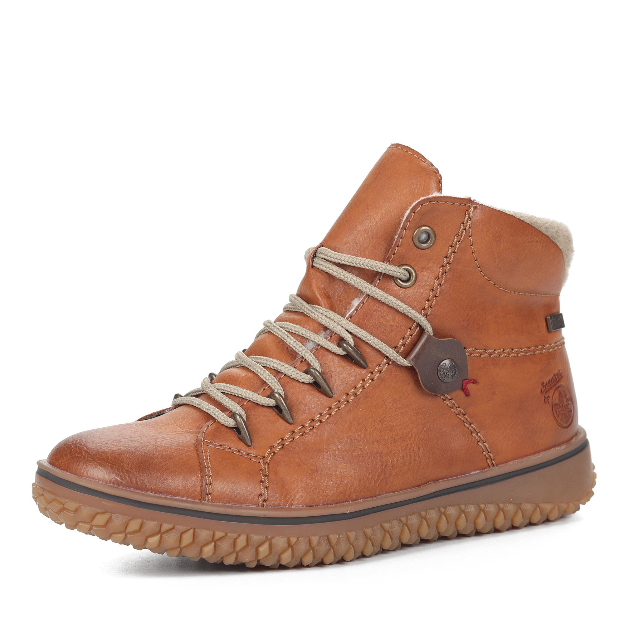 Рыжие ботинки из экокожи на шерсти