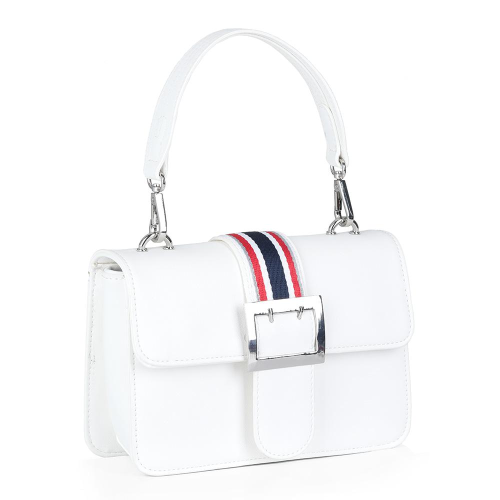 Белая сумка с двумя ручками разной длинны фото