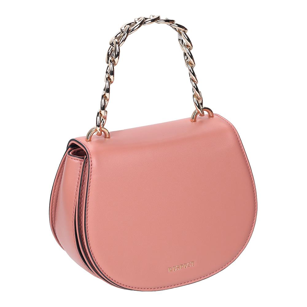 Пыльно-розовая сумкас цепочкой через плечо фото