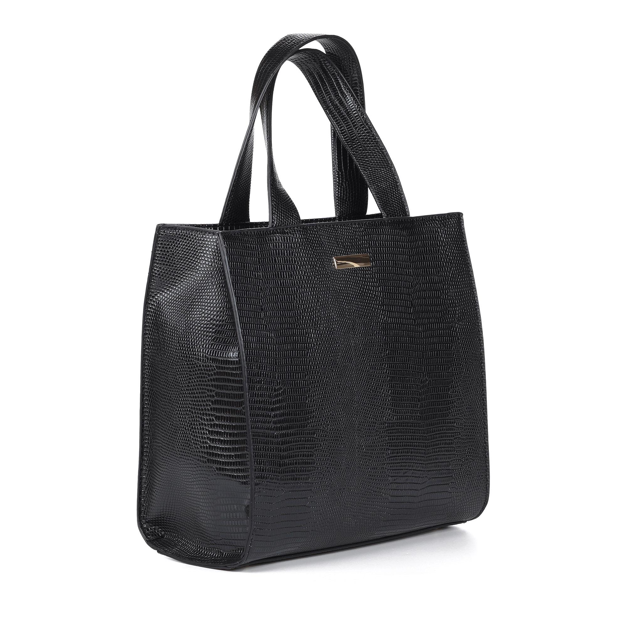 Черная сумка шоппер с тиснением под рептилию