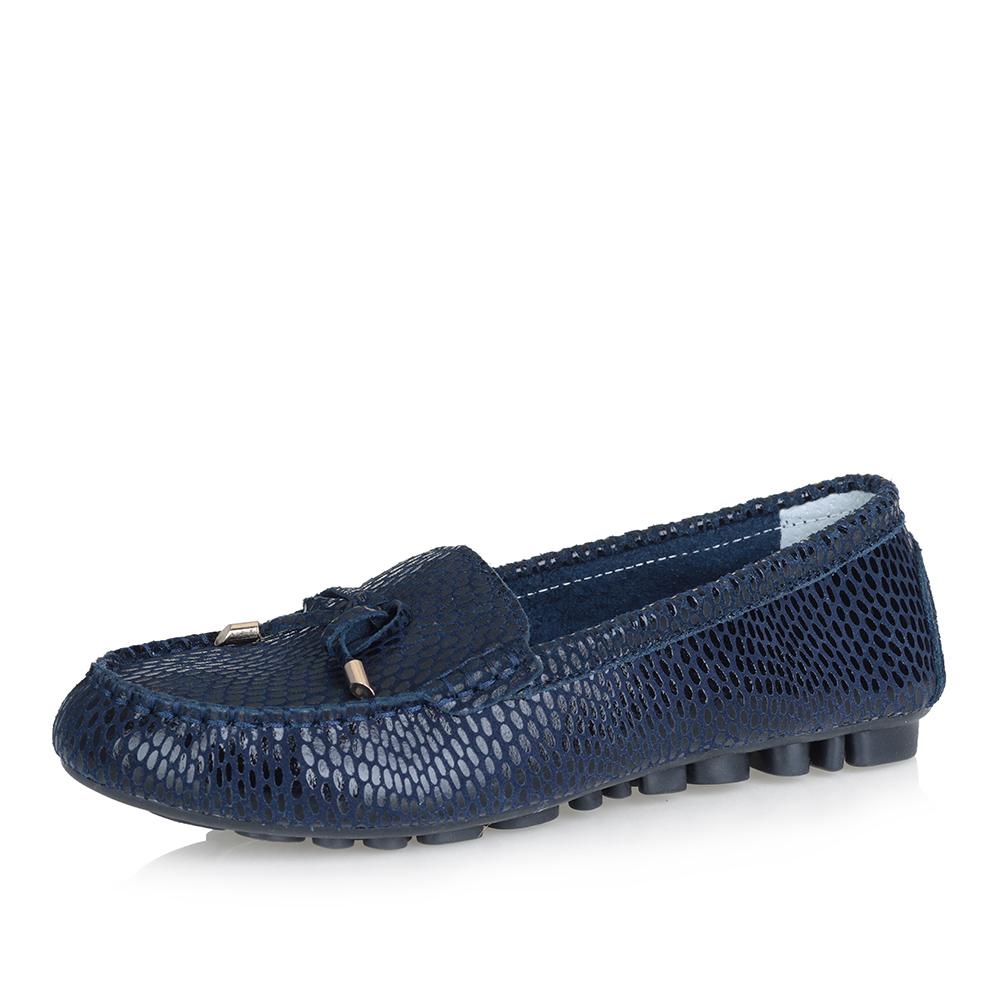 Темно-синие мокасины со шнуровкой