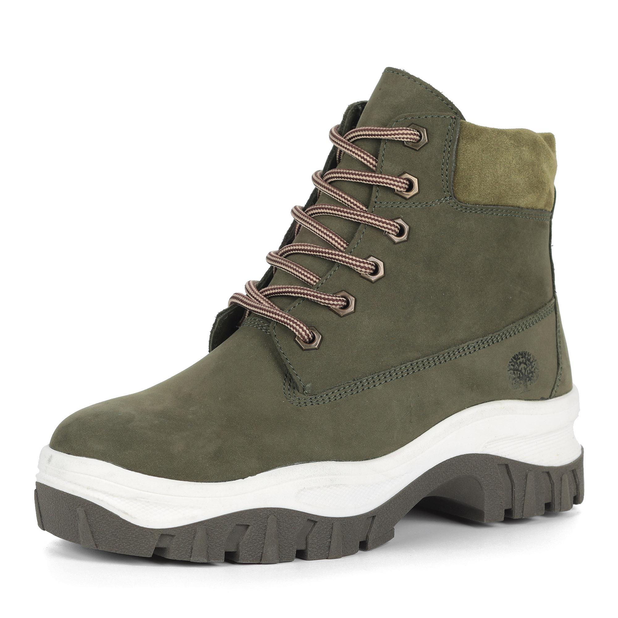 Зеленые ботинки из нубука на утолщенной подошве