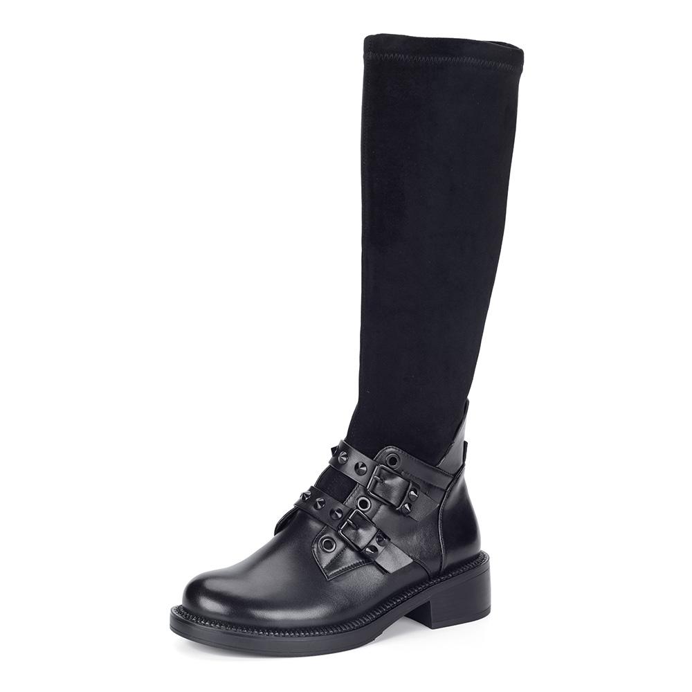 Черные сапоги из кожи с велюровой вставкой