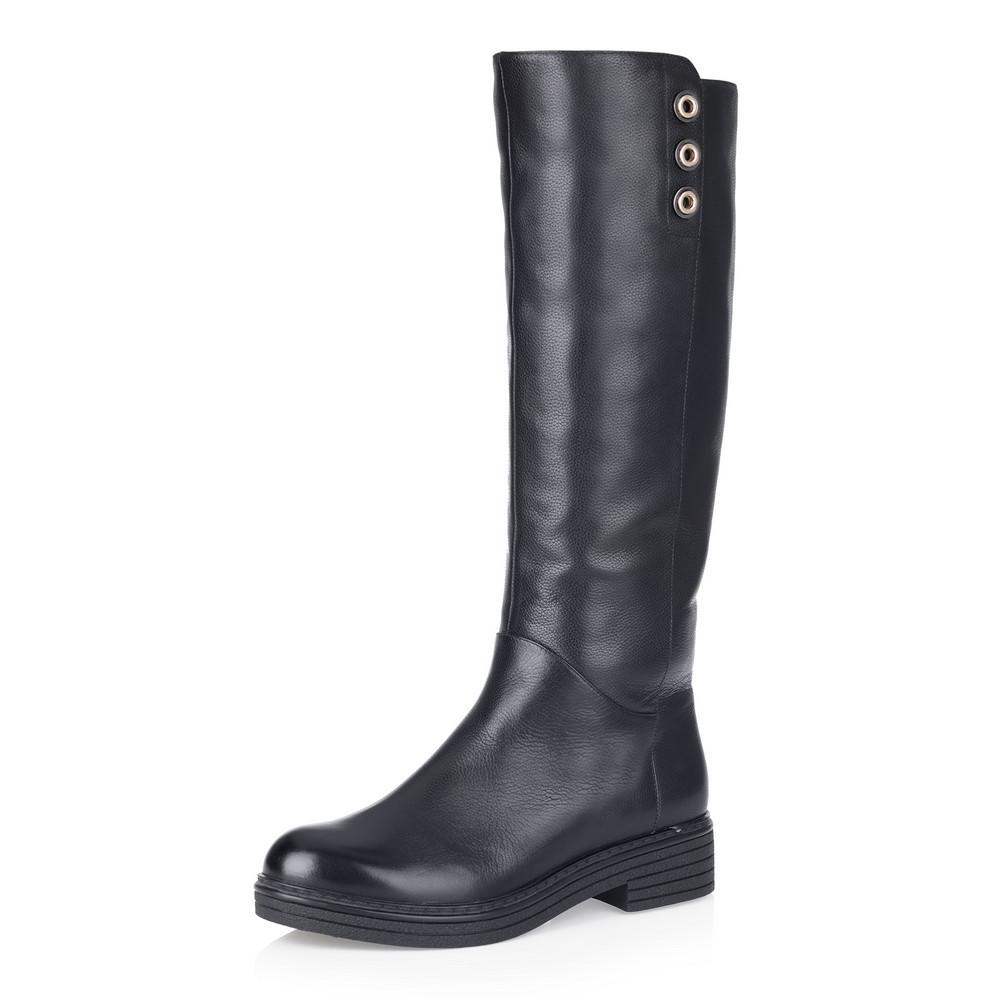 Купить со скидкой Черные кожаные сапоги на низком каблуке