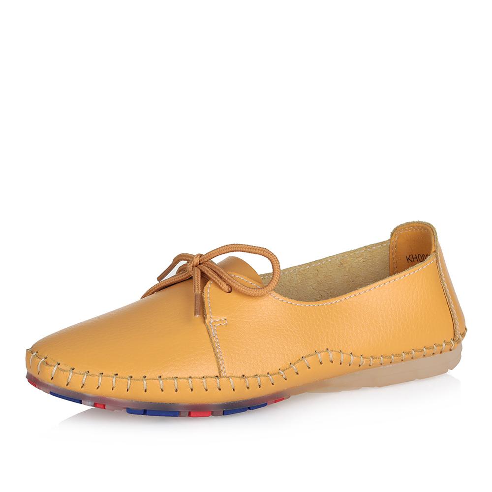 Желтые кожаные туфли на сплошной подошве