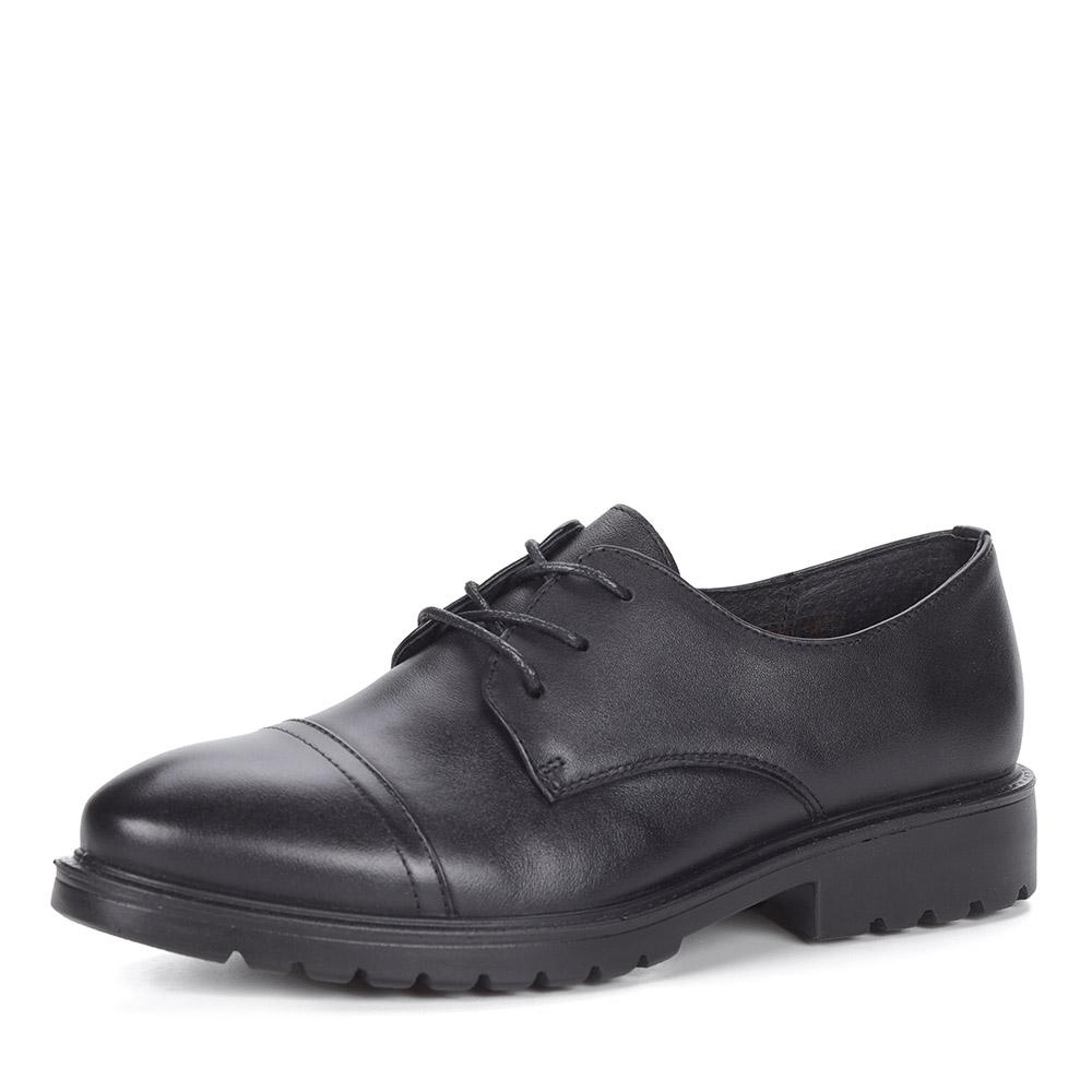 Черные полуботинки из кожи на шнуровке
