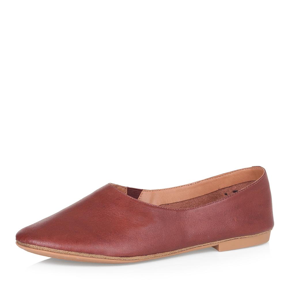 Рыжие туфли из гладкой кожи фото