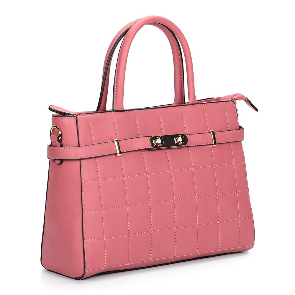Розовая сумка с жесткой основой и декоративной прошивкой фото