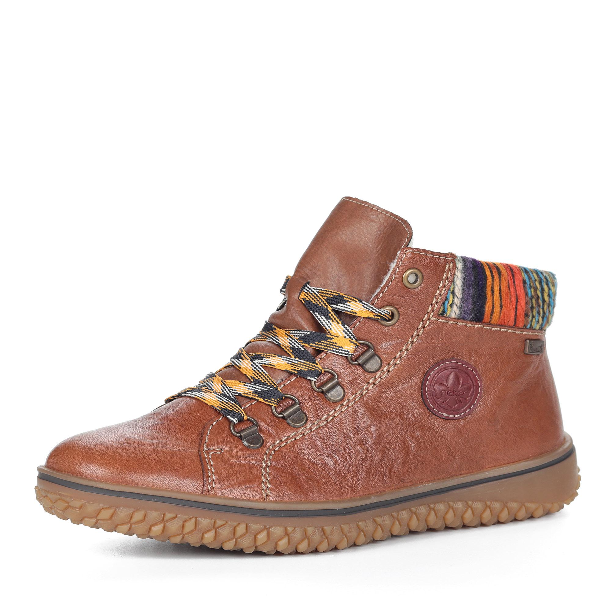 Коричневые ботинки из комбинированных материалов