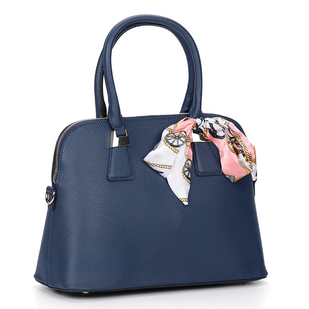 Темно синяя сумка с жесткой основой и дополнительной ручкой фото