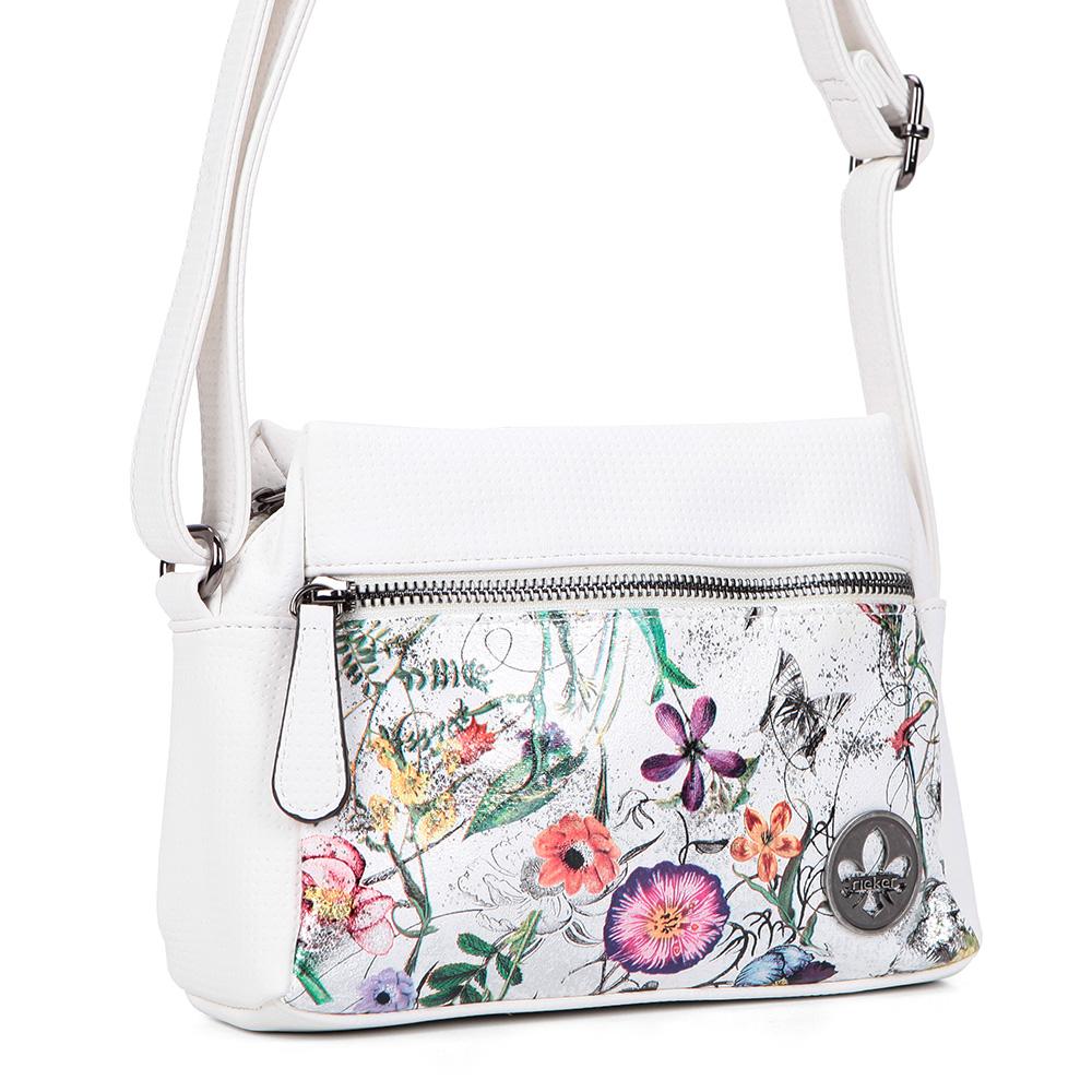 Белая сумка из экокожи с цветочным принтом фото
