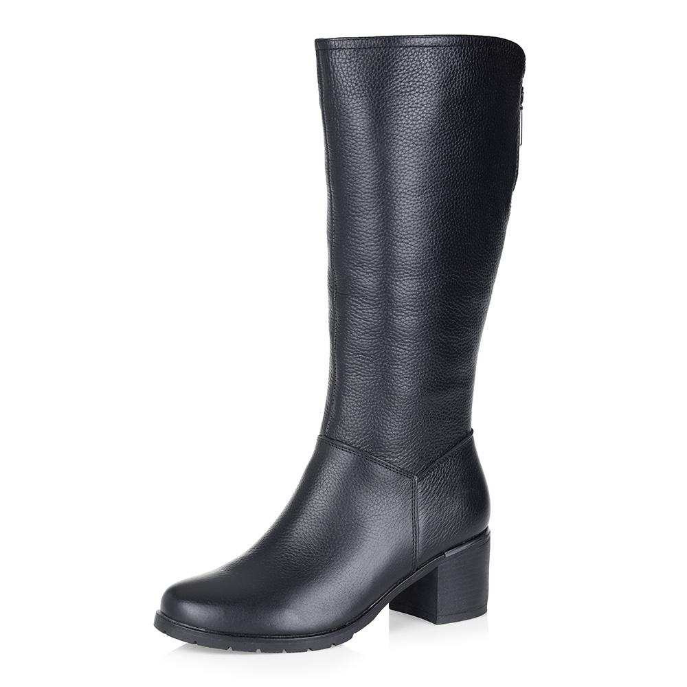 Черные кожаные сапоги на шерсти