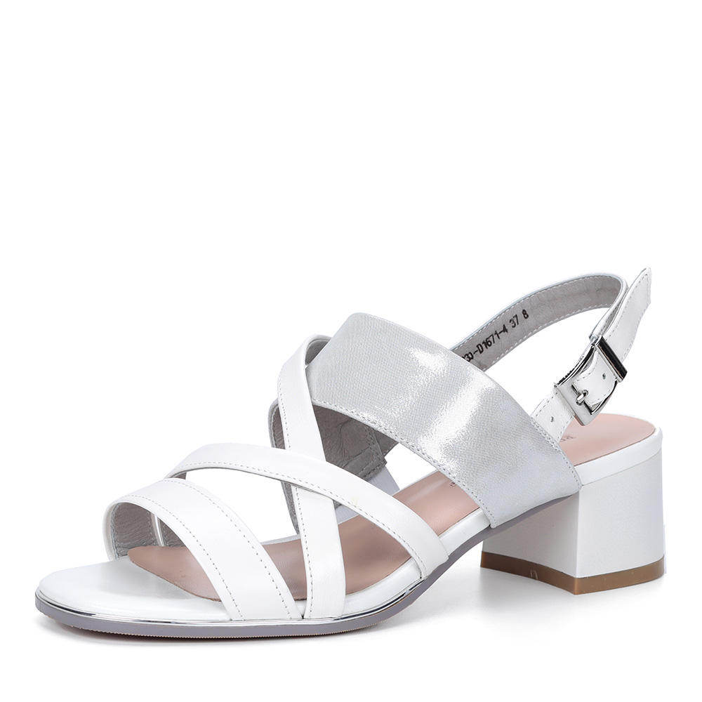 Белые босоножки на устойчивом каблуке фото