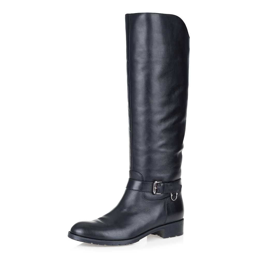 Черные кожаные сапоги на низком каблуке Respect